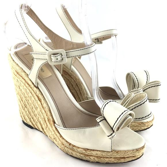 b90bf2f8ddf Wedge sandals white leather Bow Trim Espadrille 39